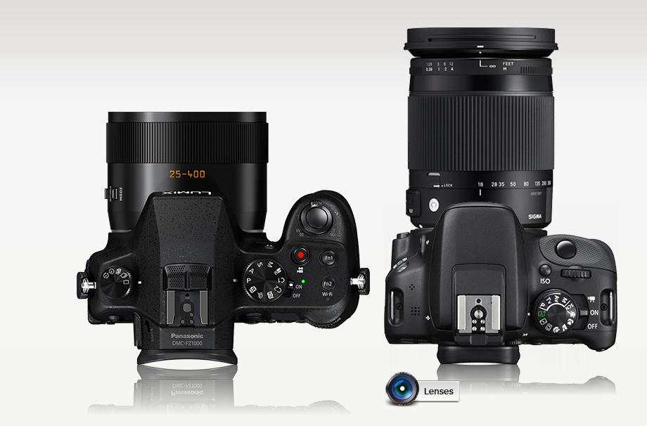 Panasonic FZ1000 e Rebel SL1