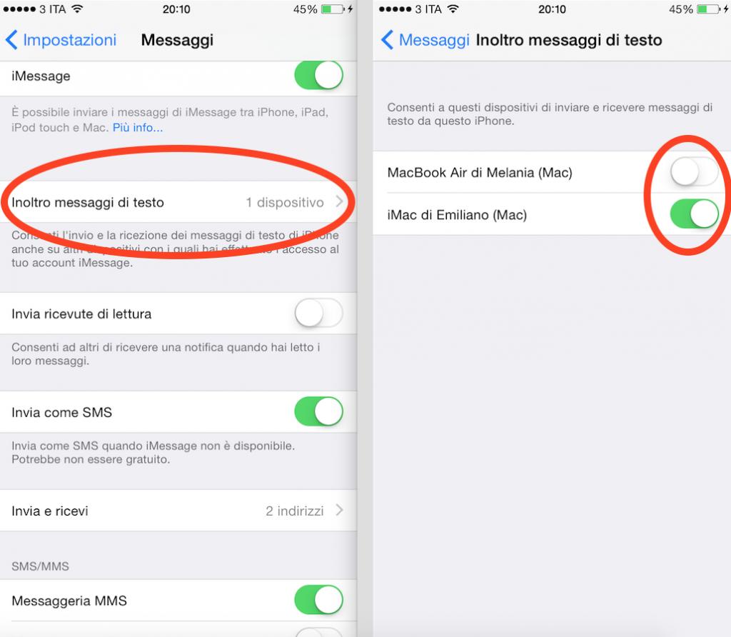 inviare sms da Mac tramite iPhone
