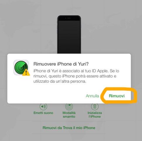 disattivare trova il mio iPhone
