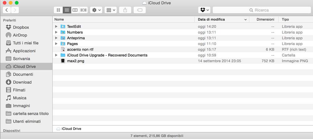 Usare iCloud Drive