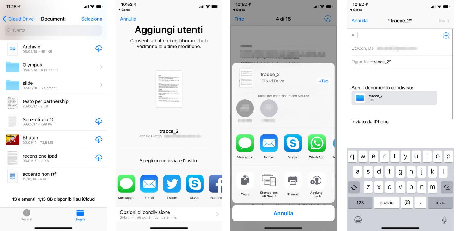 Come funziona la condivisione di file da iCloud Drive da iOS