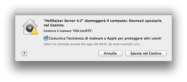 OS X verifica la presenza di eventuale malware noto. Se tale presenza viene rilevata, è visualizzato un messaggio simile a quello presenta questa schermata.