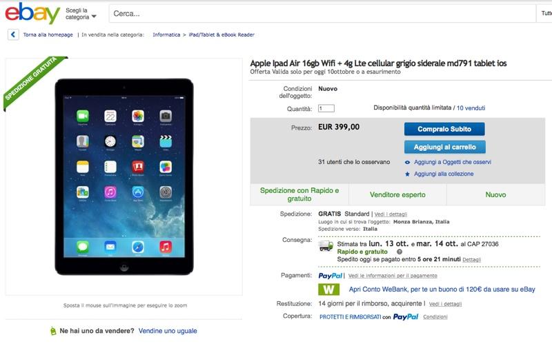 iPad Air Wi-Fi + 4G LTE 700 ok