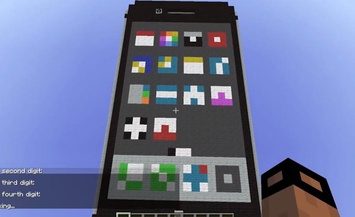 iPhone ricostruito in Minecraft 700 ok