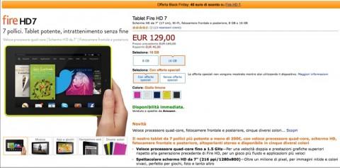 Amazon Fire HD 7 sconto 40 euro 800