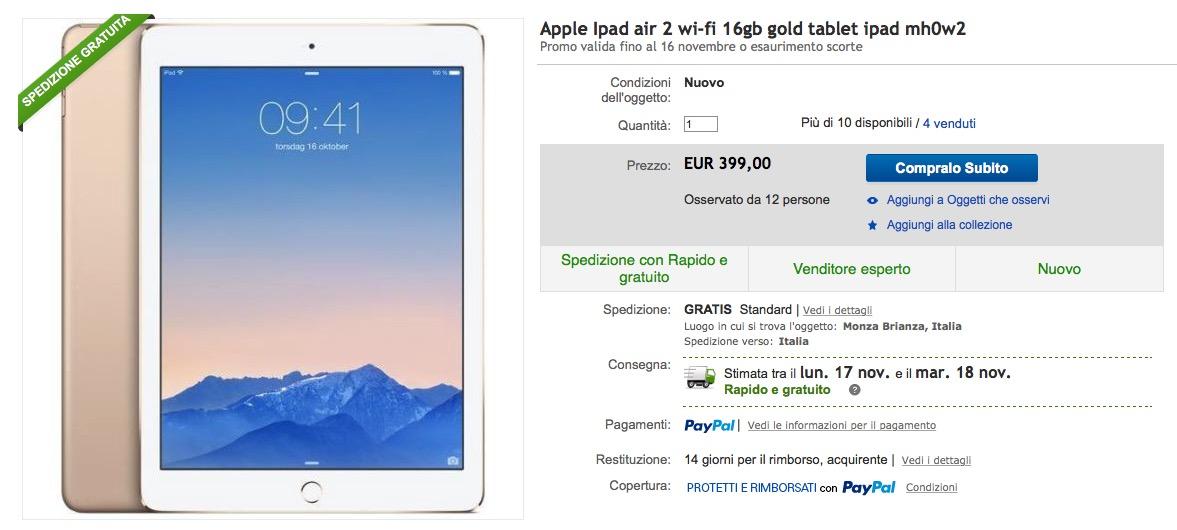 Offerta iPad Air 2