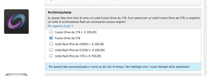 mac mini ora configurabile con fusion drive da 2tb. Black Bedroom Furniture Sets. Home Design Ideas