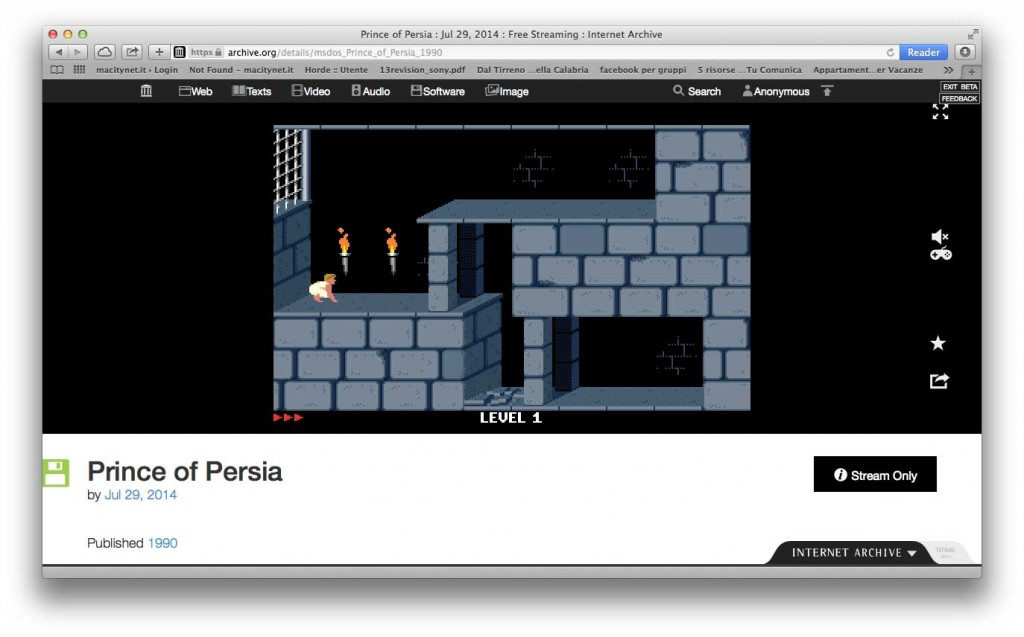 giochi MS-DOS Prince of Persia
