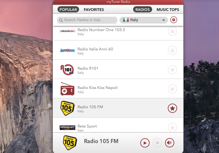 myTuner Radio Italia, ascolta e registra radio in streaming direttamente da Mac