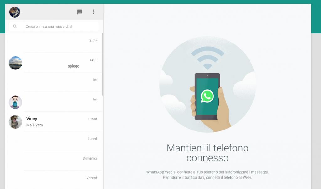 whatsapp web, foto schermata whatsapp web
