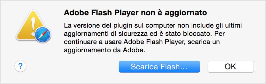 Messaggio Flash Player obsoleto