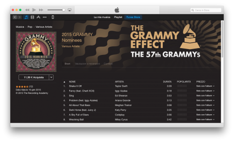 2015 Grammy Nominees compilation itunes store