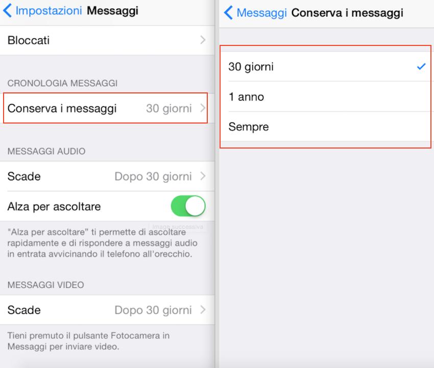 cancellare messaggi vecchi iPhone
