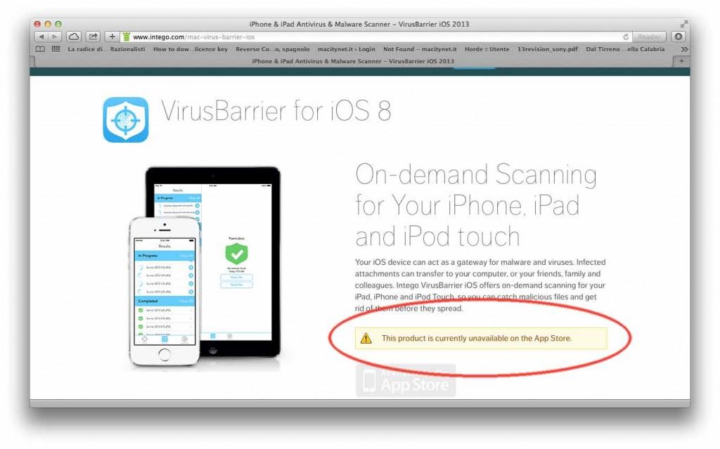 Apple elimina antivirus da app store
