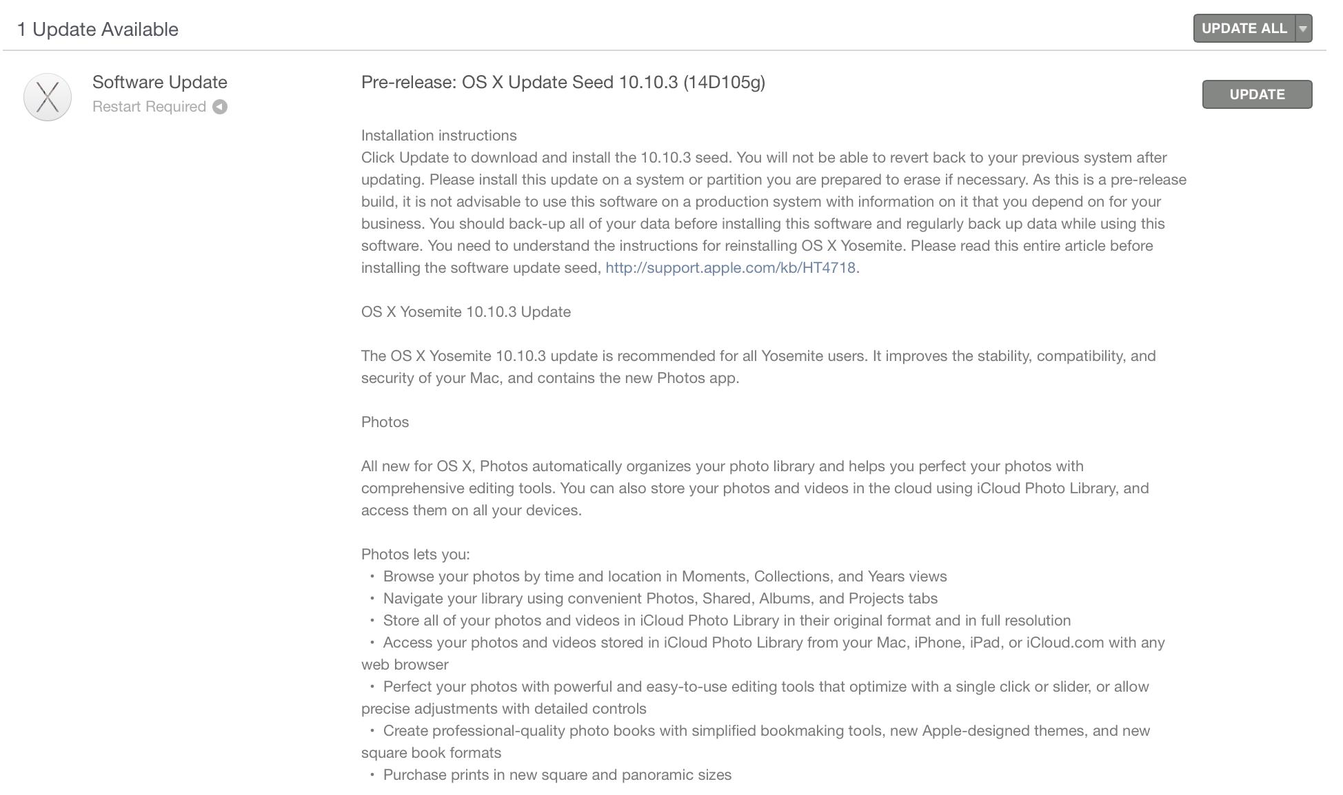 beta di OS X 10.10.3