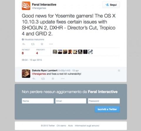 OS X 10.10.3 videogiochi feral