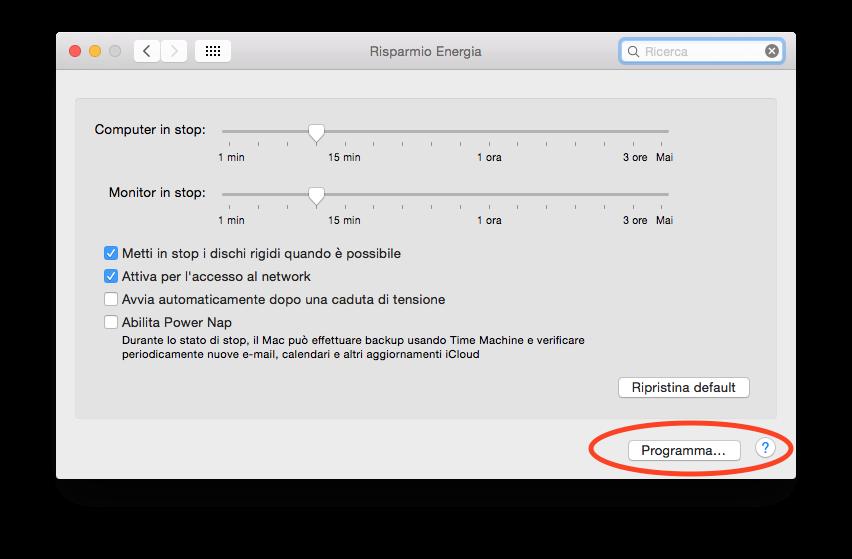 spegnere Mac automaticamente