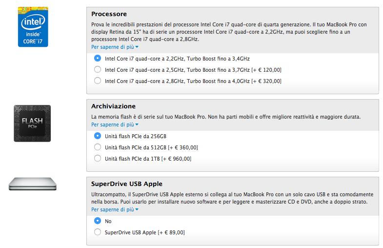 opzioni macbook retina base