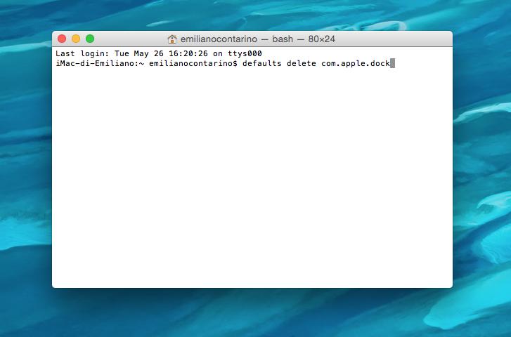 reset dock OS X