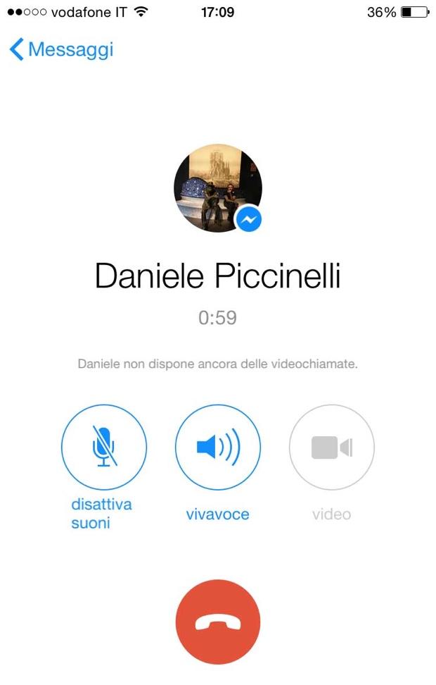 facebook messenger iphone 620 video chiamata