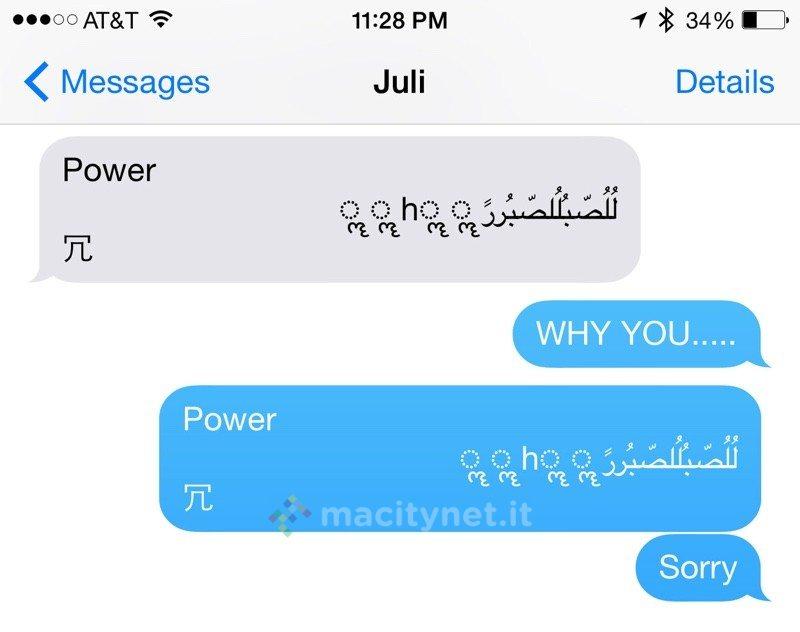 messaggio che fa riavviare iPhone