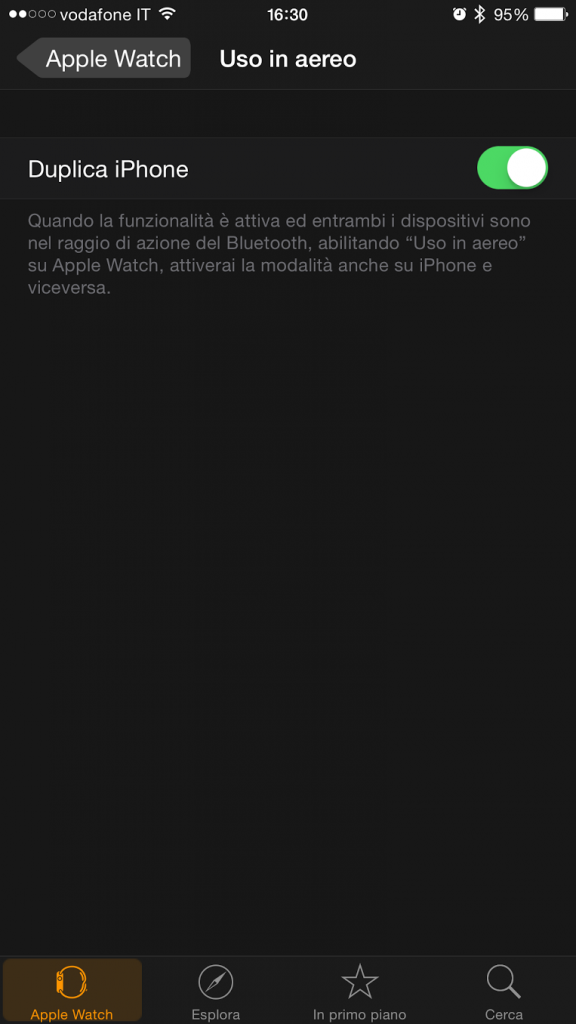 Modalità Aereo su Apple Watch