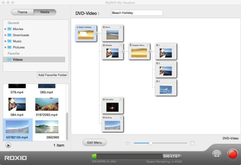 La funzione Toast MyDVD permette di trasformare i filmati in progetti multimediali su dischi, completi di menu e musiche.