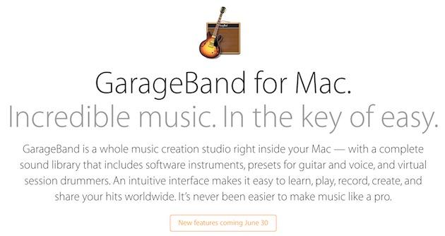 GarageBand OS X 30 giugno