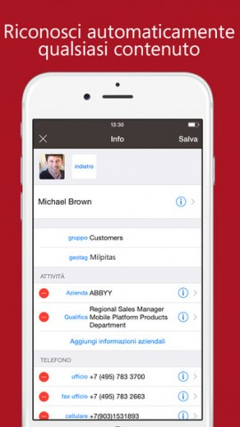 ABBYY Business Card Reader per iOS 2