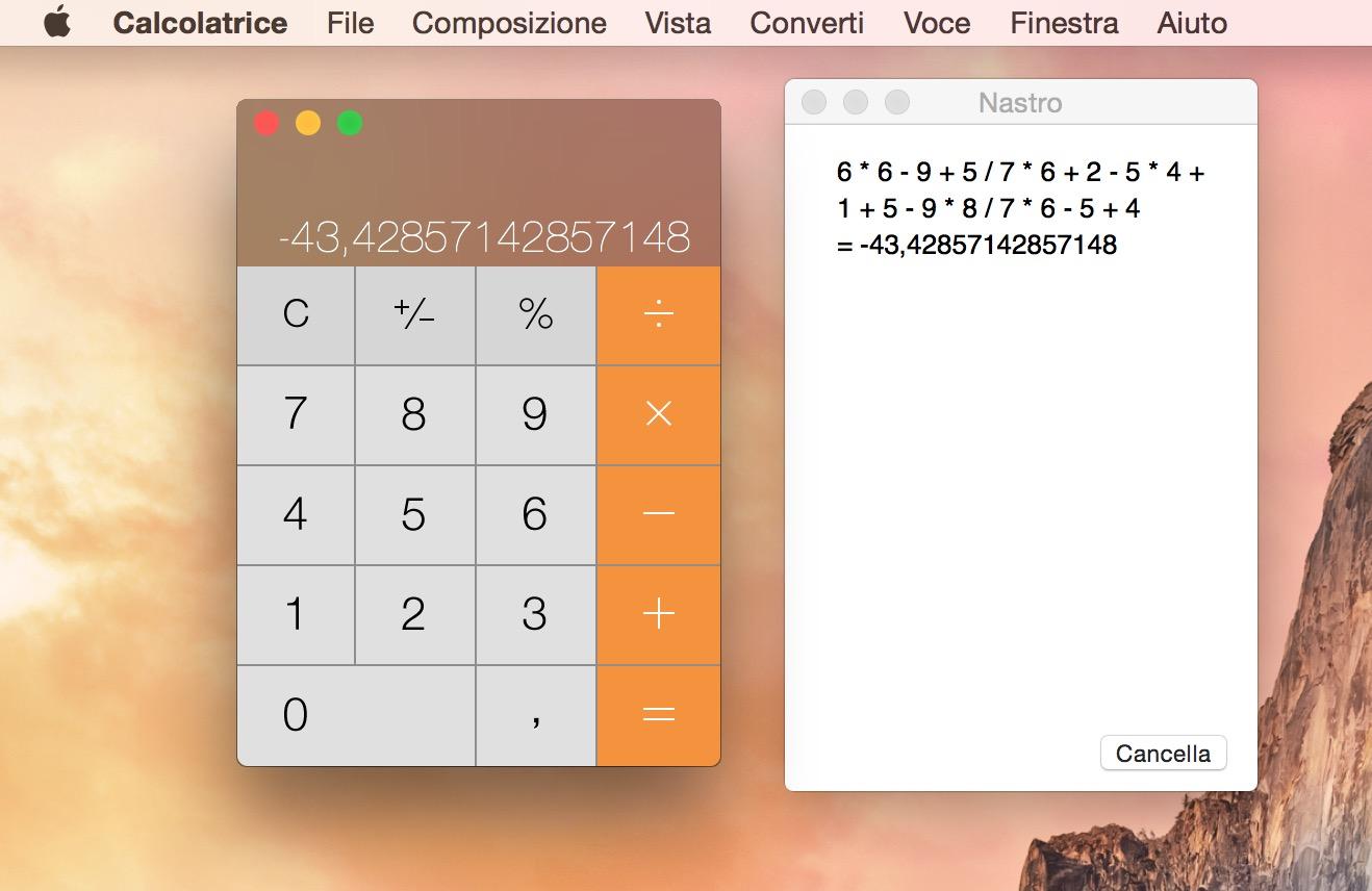 possibile tenere automaticamente traccia dei calcoli eseguiti grazie al Nastro integrato