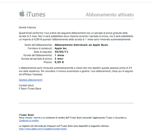 disattivare rinnovo automatico Apple Music