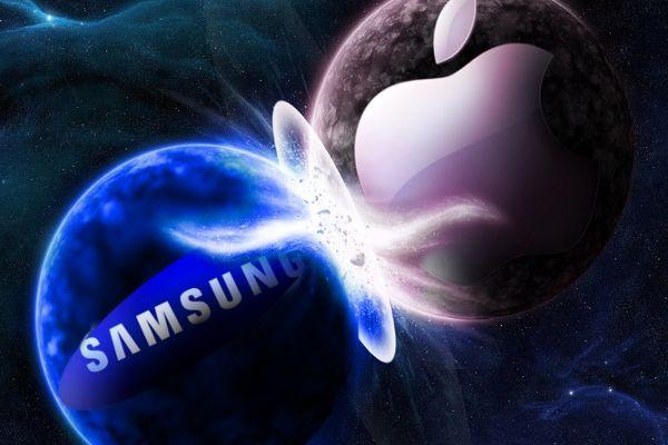 Apple contro Samsung, foto scontro dei loghi apple samsung