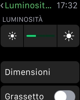 ridurre la luminosità apple watch