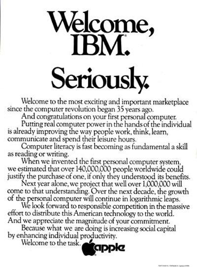 benvenuta ibm davvero spot apple