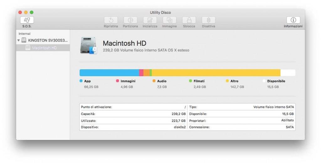 riparazione dei permessi OS X El Capitan utility disco