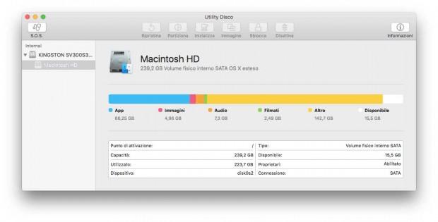 OS X El Capitan utility disco