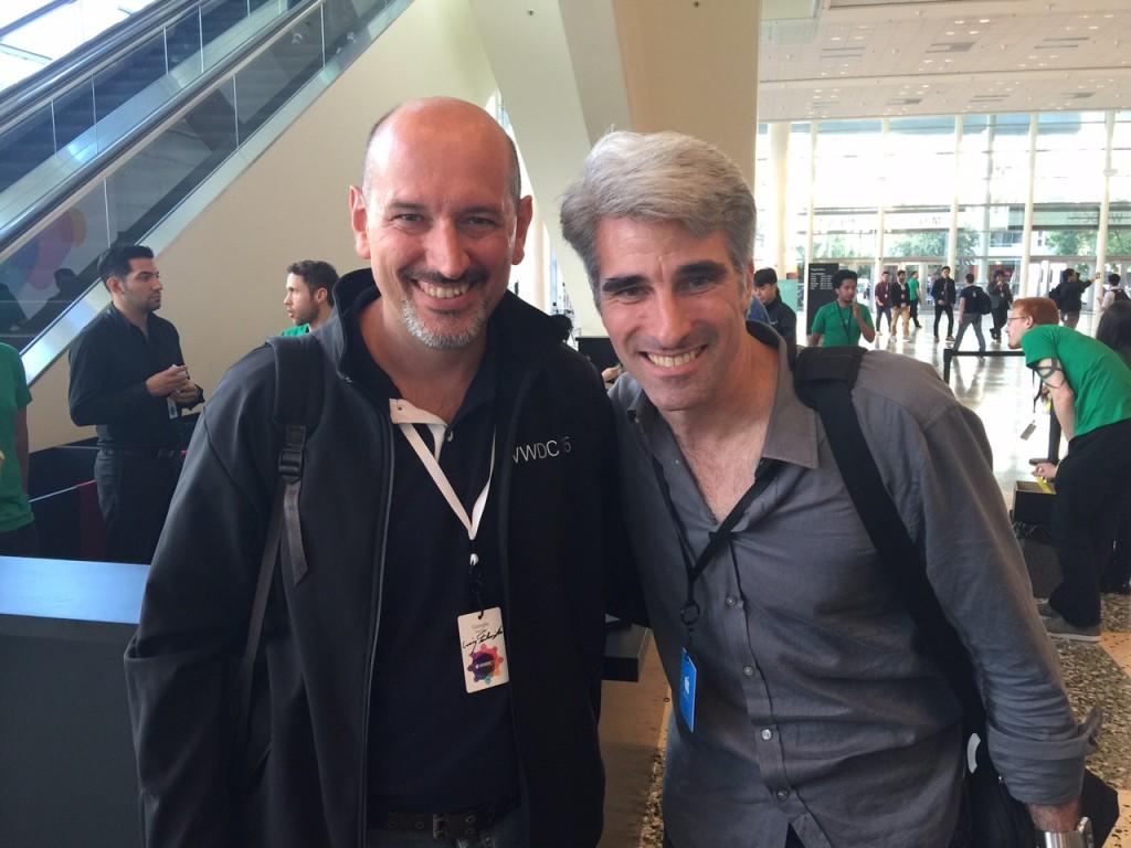 Giorgio Bertero, sviluppatore di Technogym, con Craig Federighi