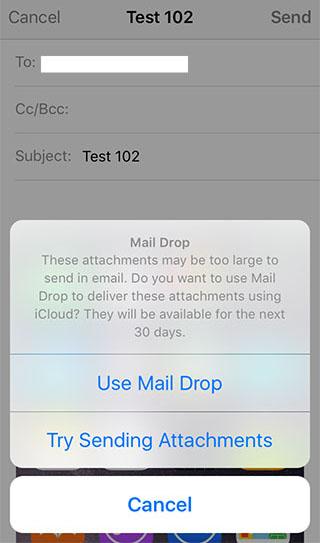 Mail Drop iOS 9