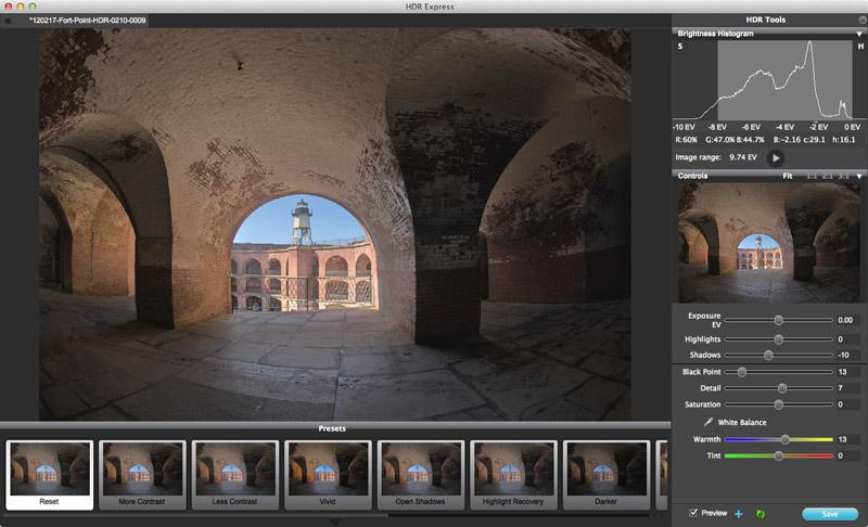 HDR Express permette di creare immagini HDR sfruttando controlli e impostazioni predefinite.
