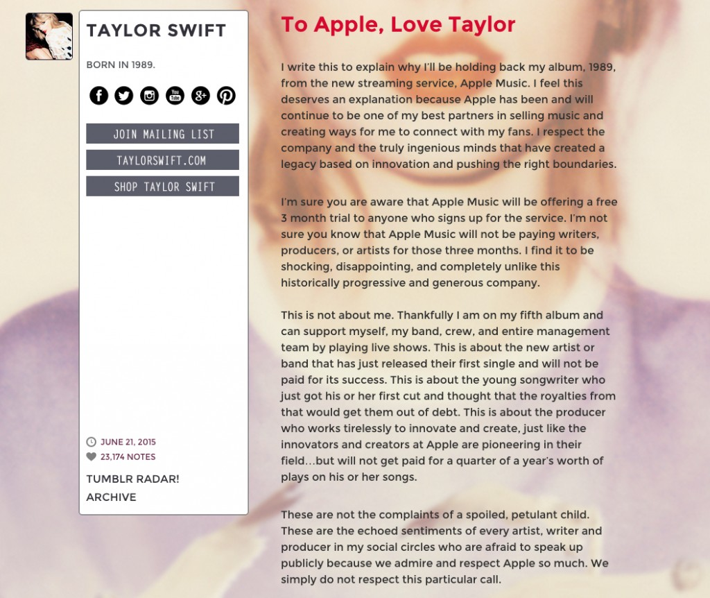 to apple love taylor swift