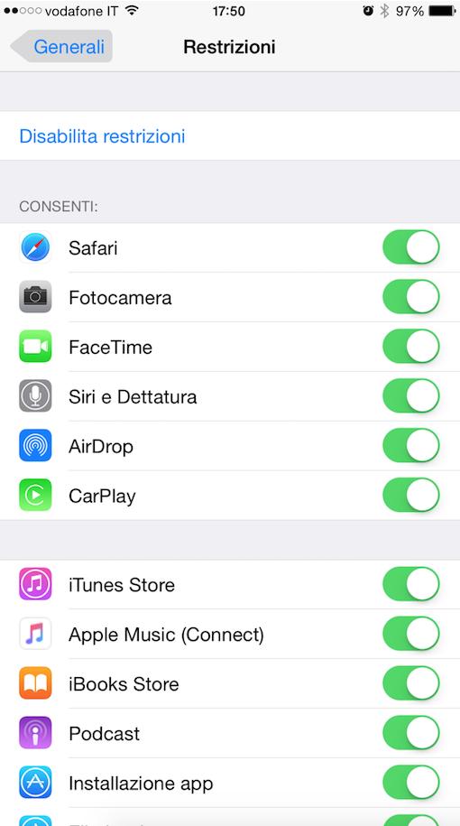 disattivare Connect su Apple Music