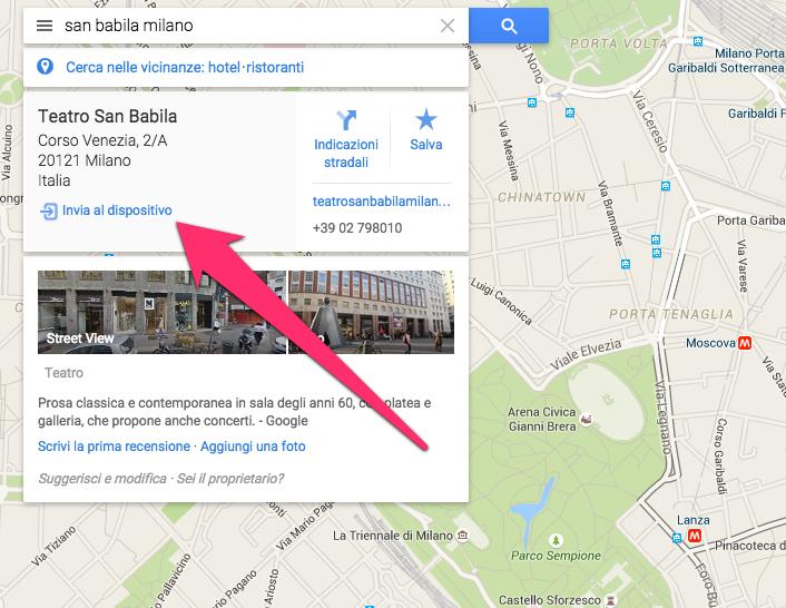 google maps invio al dispositivo