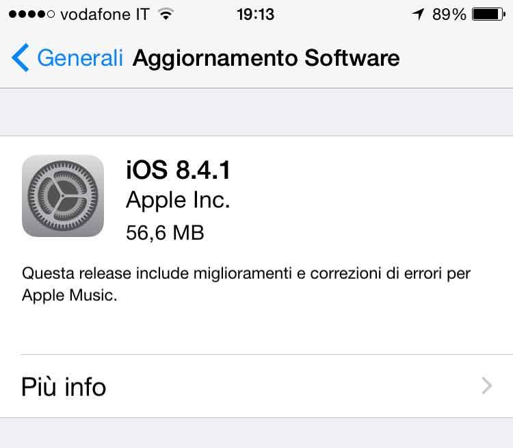 Update a IOS 8.4.1