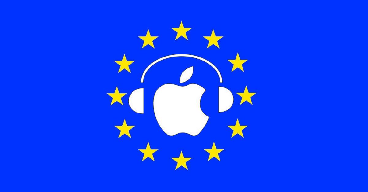 Apple music sulla bandiera dell'unione europea