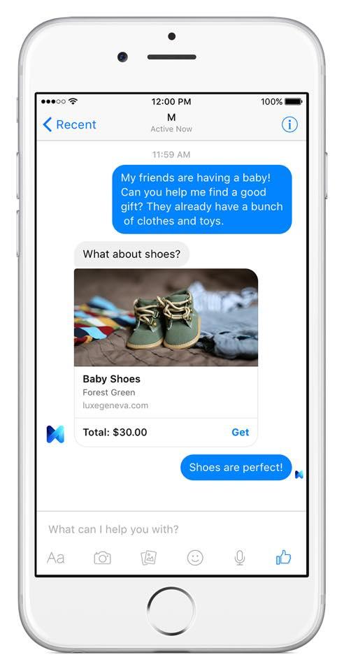 Facebook M esempio di acquisto scarpe su iPhone