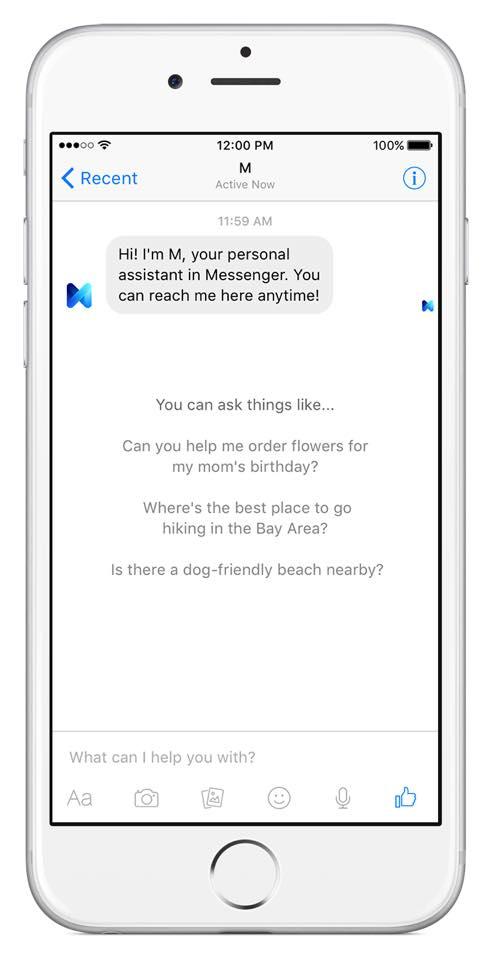 Facebook M esempio su iPhone