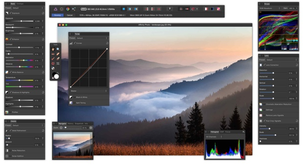 affinity photo interfaccia 620
