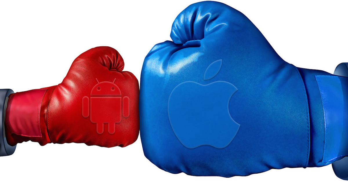 guantoni con i simboli apple e Android