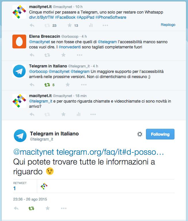 scambio di tweet con telegram a macitynet