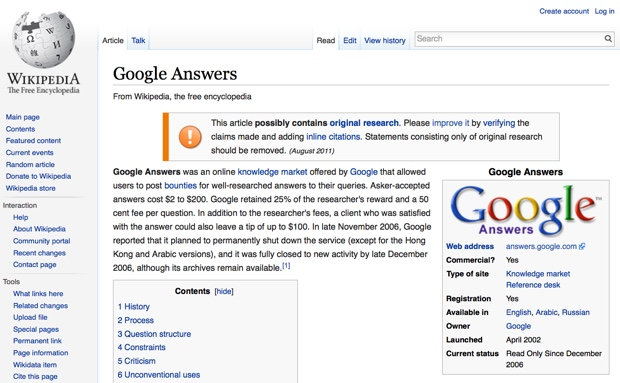 wikipedia google answers 620